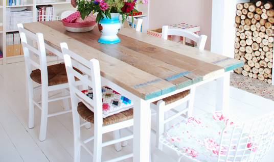 dining room table with cool painted details