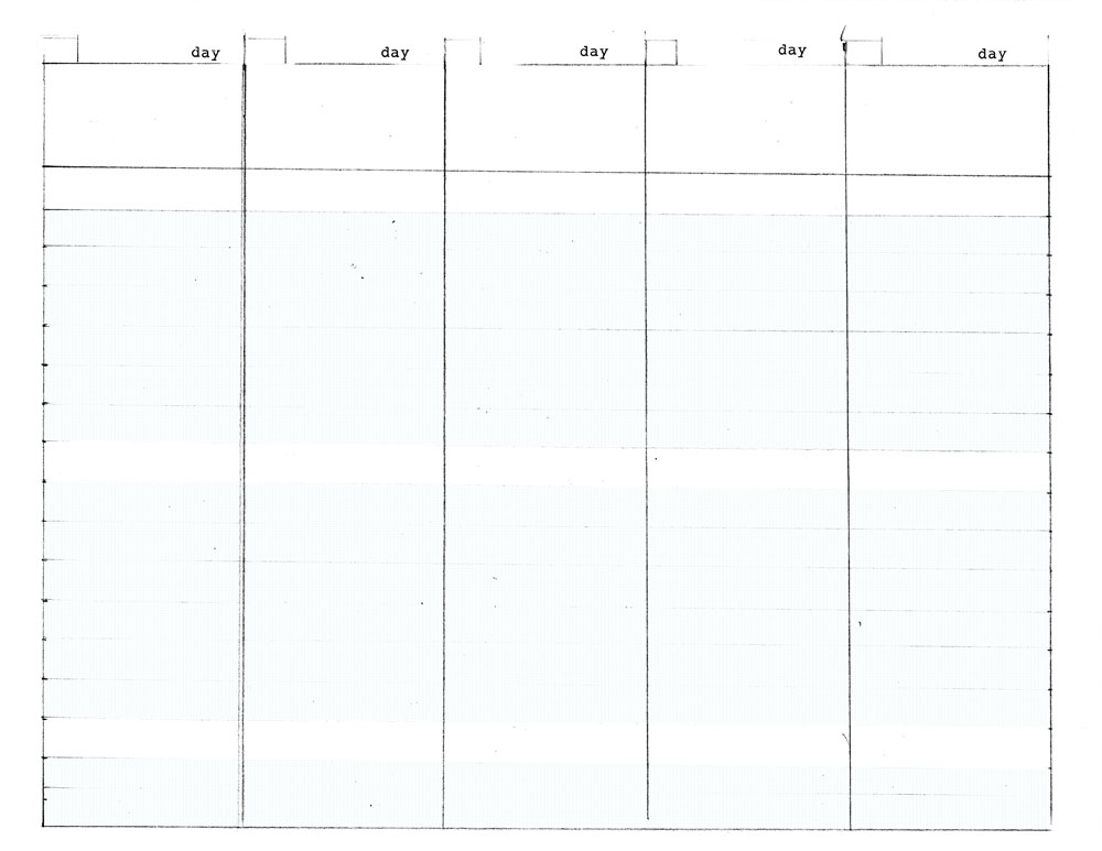 5 day work week diy planner template for Free 5 day calendar template