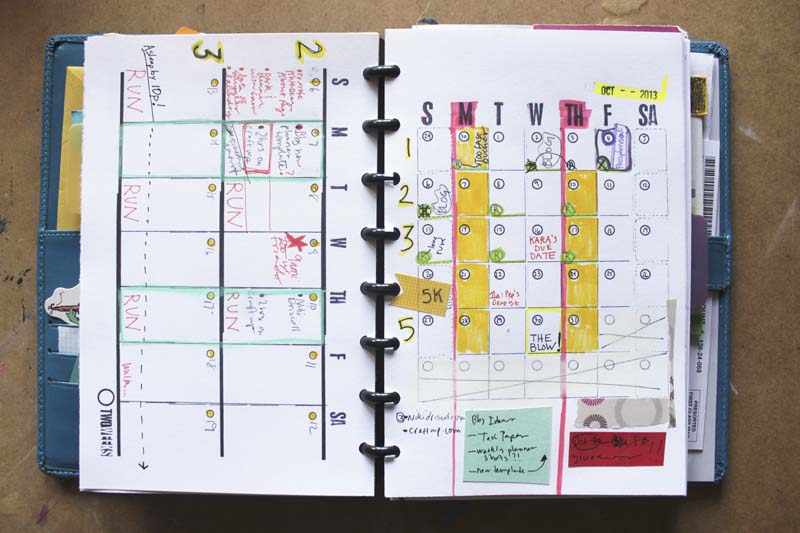 month and double week diy planner template in use