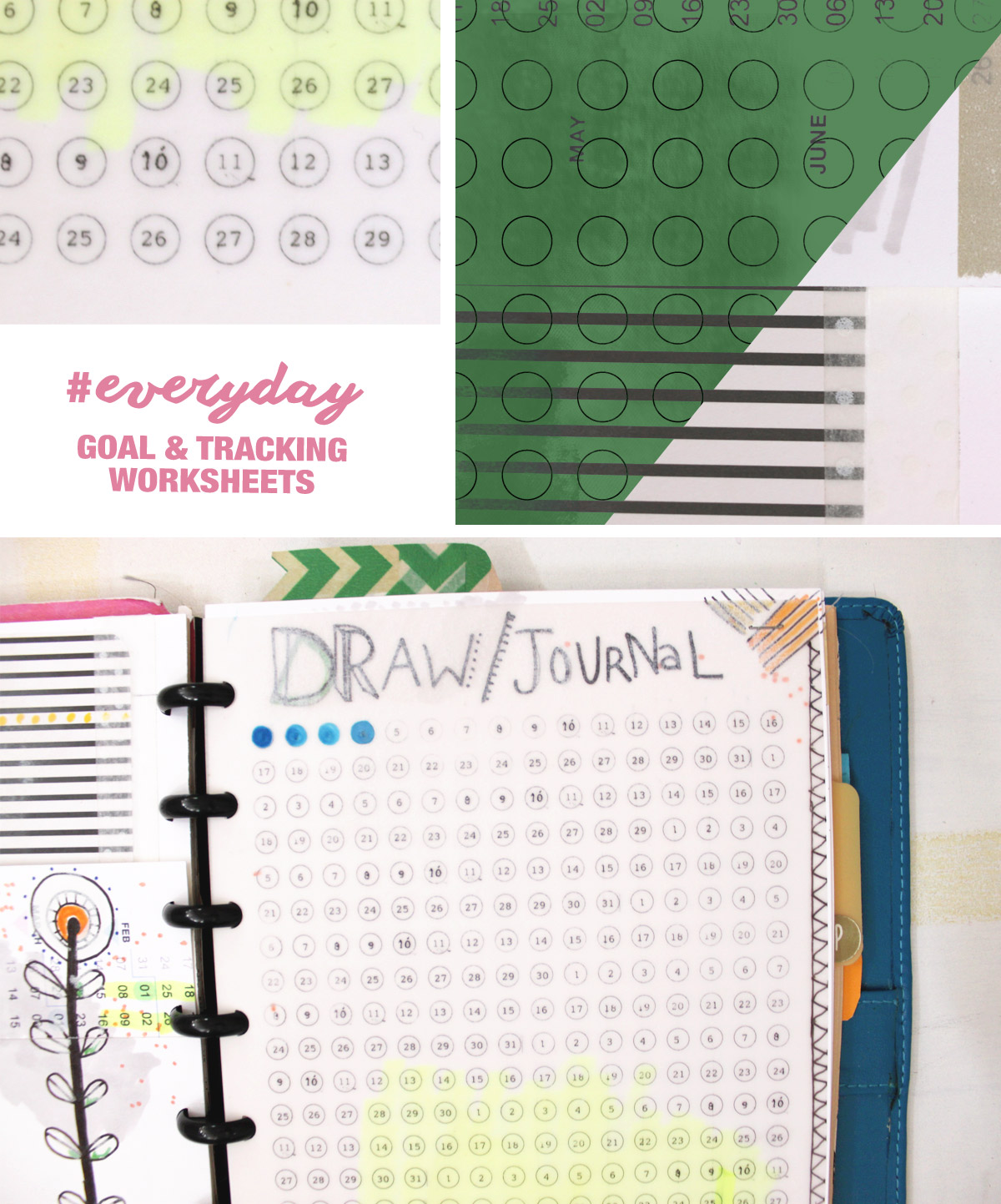 8.5 by 5.5 goals and daily habit templates by Ahhh Design #diyplanner #printable  #ARC #goals