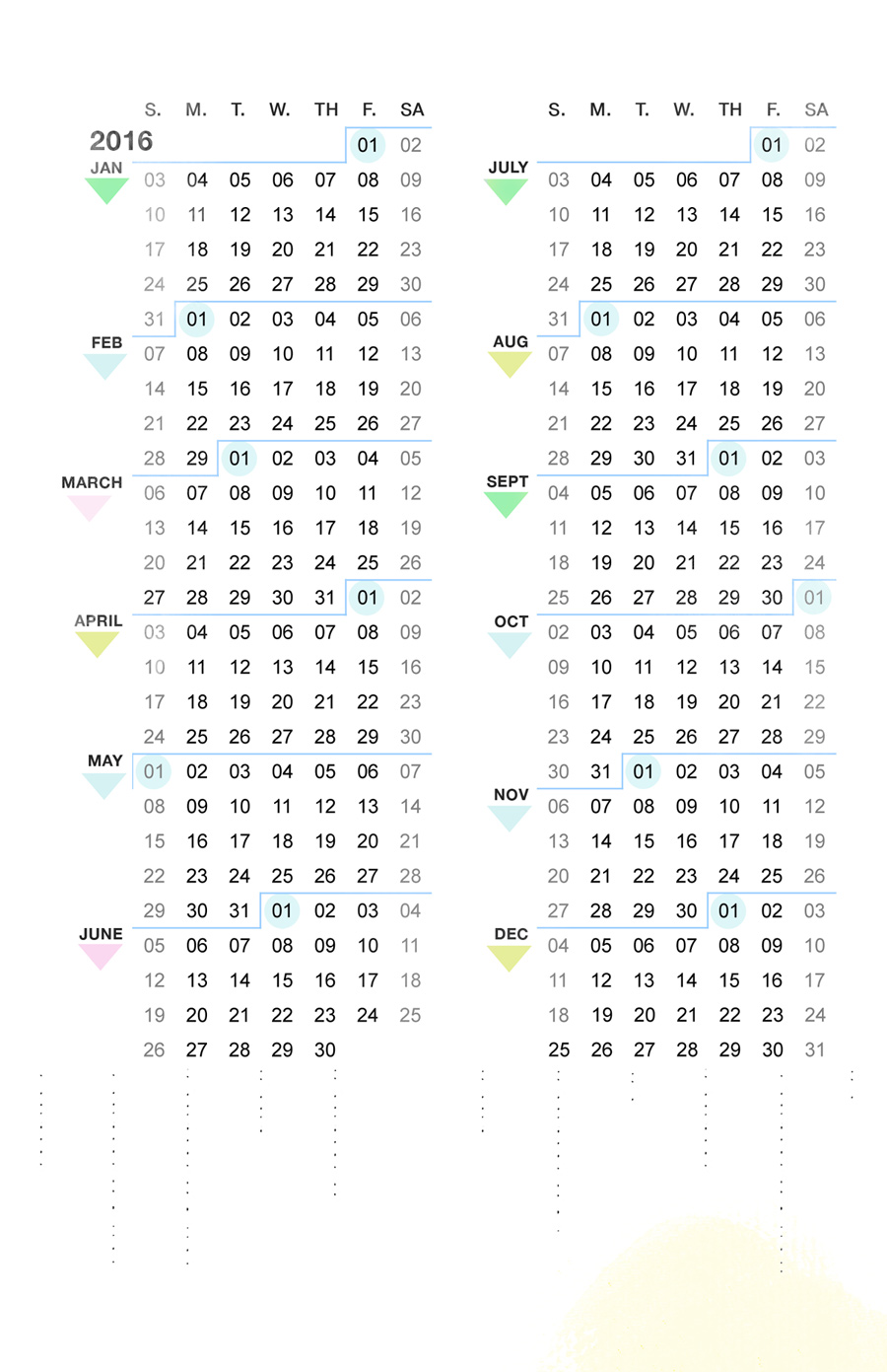 8.5 by 5.5 compact calendar by Ahhh Design #diyplanner #printable  #ARC #year