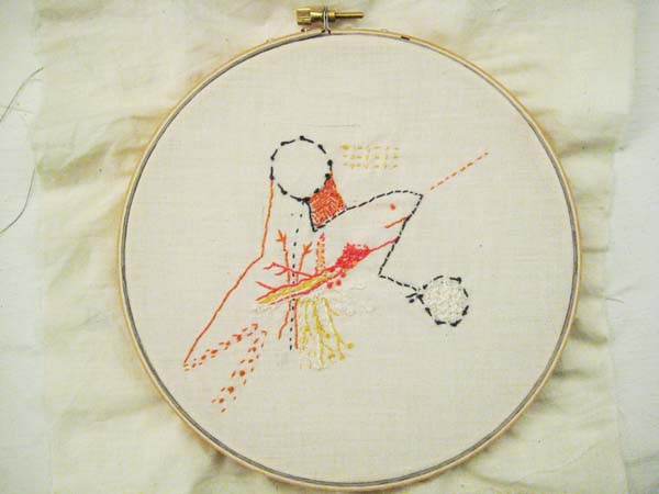 A whale? Airplane? abstract embroidery