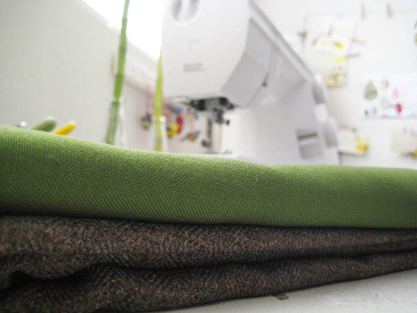 sewing machine and green and brown fabric