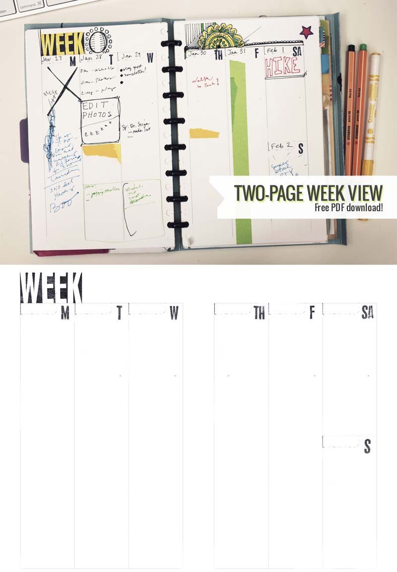 Two-page week  PDF template by Ahhh Design #diyplanner #freedownload