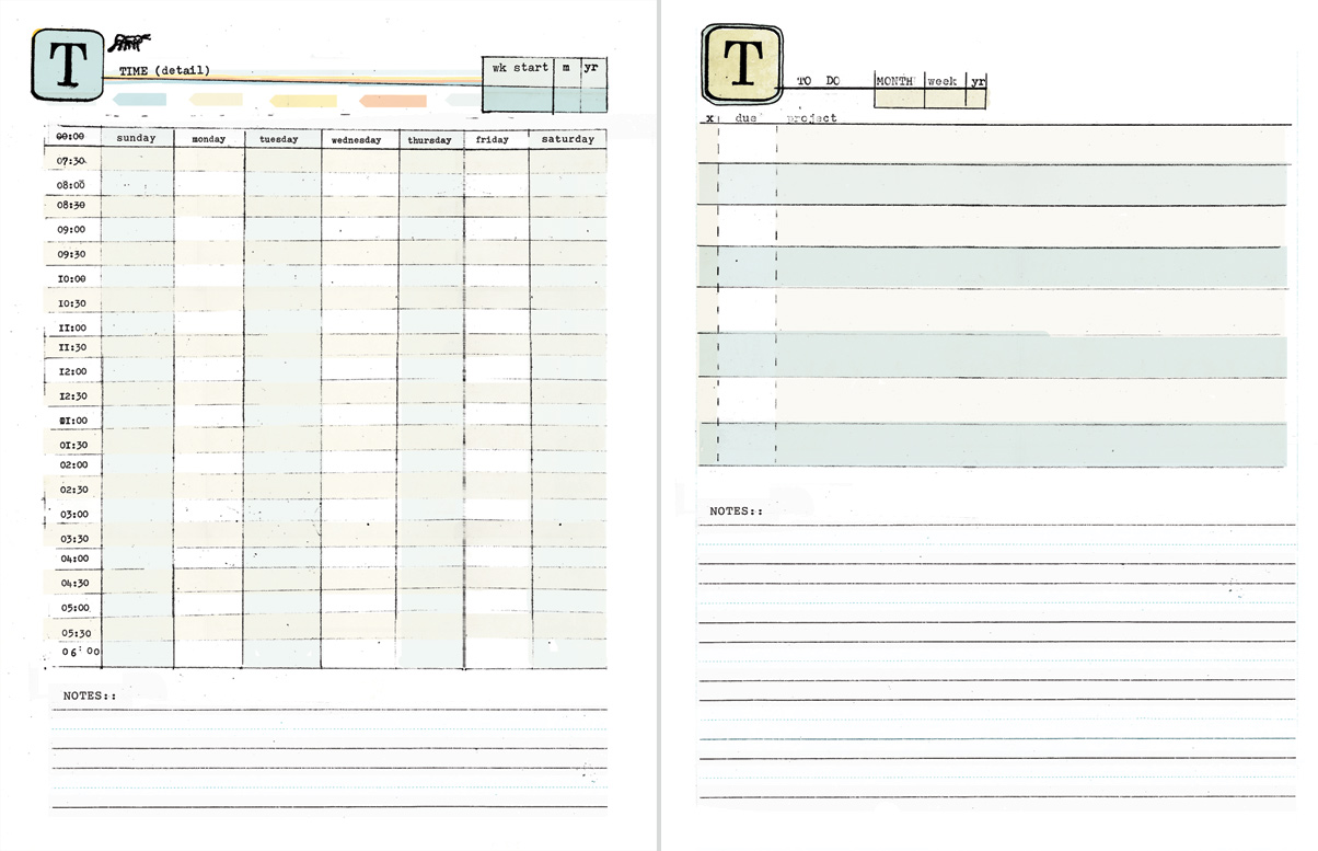 DIY Planner templates by Ahhh Design - Day broken down by time & To Do worksheets #diyplanner #printable