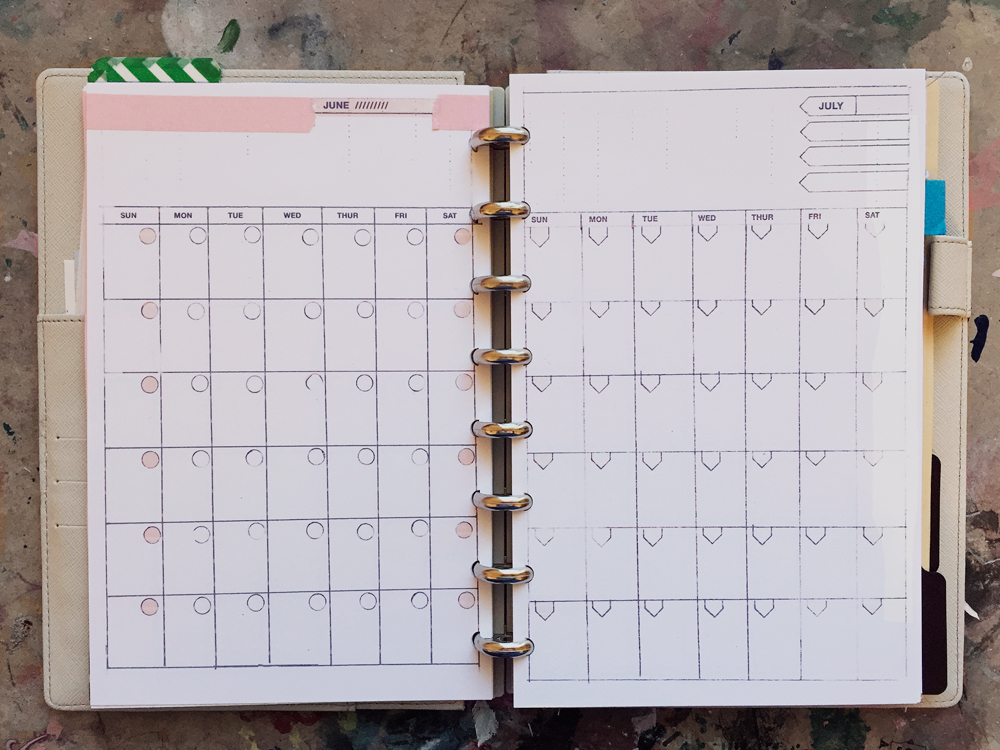 DIY discbound planner templates by month $12